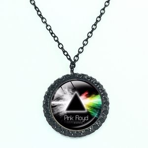 Pink Floyd Rock Band Black Glass Cabochon Necklace